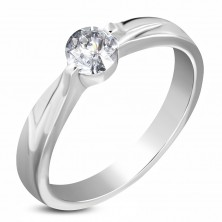 Steel silver engagement ring, clear zircon, shoulders with notches