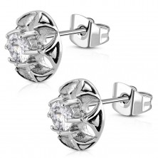 Surgical steel earrings - a cut-out flower with clear zircon