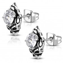 Silver earrings - patinated skull with rounded clear zircon