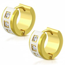 Bi-color surgical steel earrings with hinged snap, matt strip, clear zircons