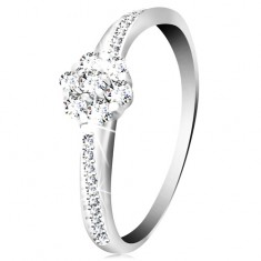 14K white gold ring - glowing flower of clear zircons, decorated shoulders