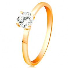 14K yellow gold ring - glowing clear zircon in shiny elevated mount