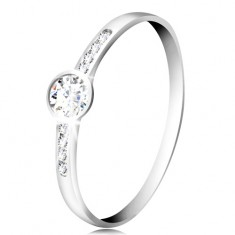 14K white gold ring - circular clear zircon, thin zircon stripes on the sides