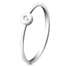 14K white gold ring - glittering clear brilliant in shiny mount, narrow shoulders