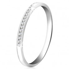Brilliant ring made of 14K white gold - glittering line of small clear diamonds