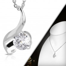 Necklace with pendant, round clear zircon and shiny wave
