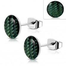 Steel earrings, acrylic circle with dark green string pattern, glaze