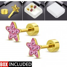 Steel stud earrings with a screw in gold colour, glittering flower made of pink zircons