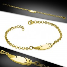 Surgical steel bracelet in gold colour, shiny chain, feather