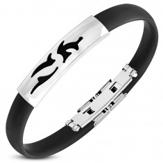 Black rubber bracelet, shiny steel plate with Tribal cut-outs