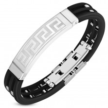 Black rubber bracelet with cut-outs and squares, Greek key plate