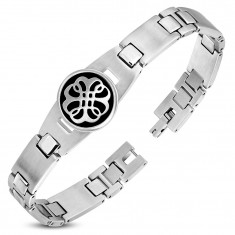 316L steel bracelet, matte and shiny links, black circle with an ornament