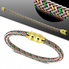 Bracelet with coloured plaited pattern, golden magnetic clasp