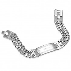 Stainless steel silver bracelet, double chain, plate with a cross