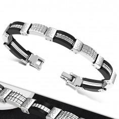 Steel-rubber bracelet, multi-part steel and black rubber links