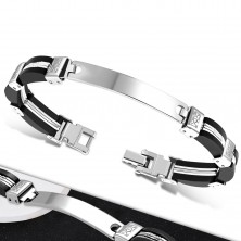 Bracelet – black rubber parts on sides, steel middle with notches, plate