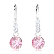925 silver earrings, Swarovski crystals in clear and light pink colour