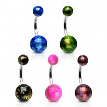 316L steel belly piercing - colourful balls with reflections of gold colour