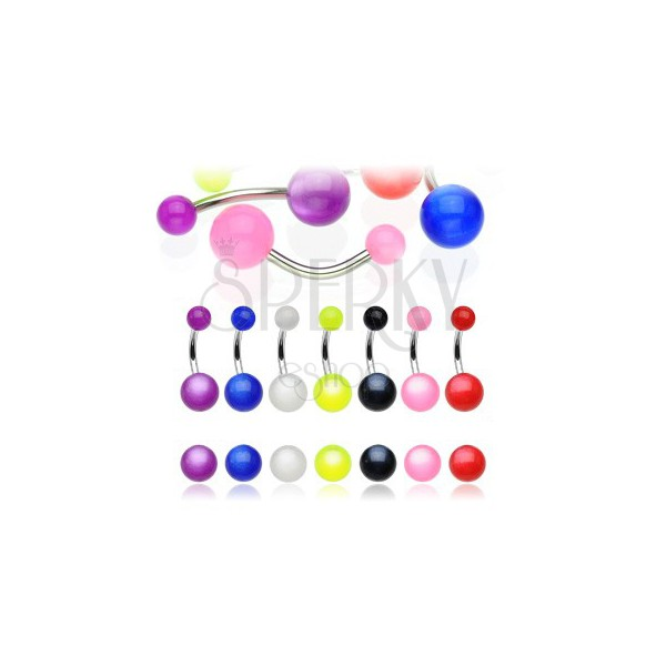 Belly button ring - colorful ball with rainbow effect