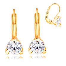 14K yellow gold earrings - triangular mount with a clear circular zircon, 5 mm