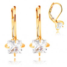 14K gold earrings - four arched prongs, clear zircon square, 5 mm