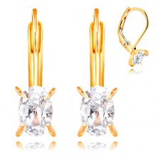 585 yellow gold earrings - four arched prongs, clear oval zircon, 6 mm