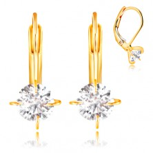585 gold earrings - mount with four prongs and circular clear zircon, 5 mm