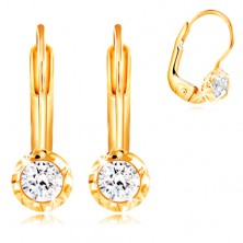 14K gold earrings - circular mount with indents, cut clear zircon, 3 mm