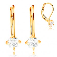 585 gold earrings - four arched prongs, clear zircon square, 3,5 mm