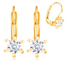 14K yellow gold earrings - flower with protruding petals and clear zircon, 4 mm