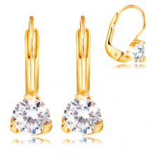 14K yellow gold earrings - triangular mount with clear circular zircon, 4,5 mm