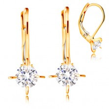585 gold earrings - four arched prongs, clear circular zircon, 4 mm