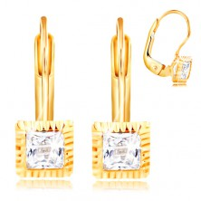 14K gold earrings - square mount with indents, clear cut zircon, 3 mm