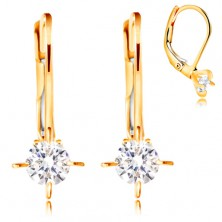585 yellow gold earrings - clear circular zircon with four prongs, 3,5 mm