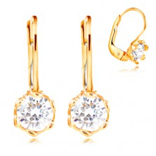 14K yellow gold earrings - clear zircon with decorative prongs, 4,5 mm
