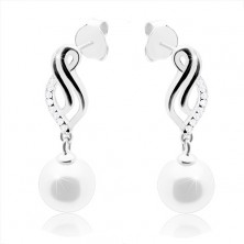 925 silver earrings, curved leaf contour, white round pearl, studs