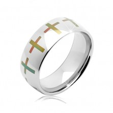 Stainless steel silver wedding band, coloured crosses around the perimeter, 6 mm