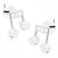 925 silver earrings - eight-note decorated with clear zircons