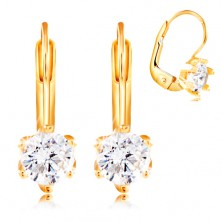 14K yellow gold earrings - round clear zircon in mount with six prongs, 4,5 mm