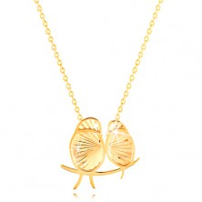 14K yellow gold necklace - two sparkly birds, thin chain