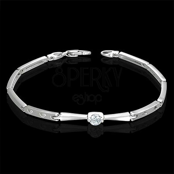 Stainless steel bracelet - prong set zircon and hearts