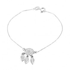 925 silver bracelet, thin chain, dreamcatcher with three feathers