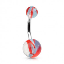 Belly button piercing made of stainless steel – acrylic beads with coloured stripes