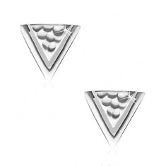 925 silver earrings, triangle with holes and narrow cut