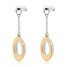 Dangling earrings, 925 silver, two-coloured oval contours on a chain
