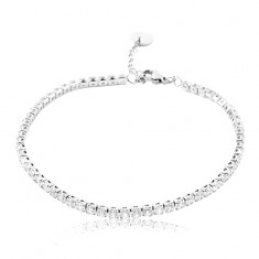 Steel bracelet, line of sparkly clear circular zircons, lobster clasp