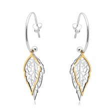 925 silver earrings, incomplete circle, two-coloured carved leaves