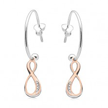 925 silver earrings, INFINITY symbols in silver and copper colour, circle