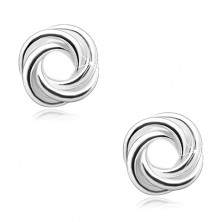 925 silver earrings, shiny knot of three bands, studs