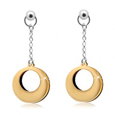 925 silver earrings, two-coloured circles with cuts on a chain